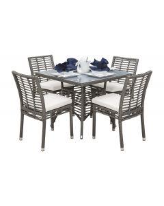 Panama Jack Graphite 5 Pc Sidechair Dining Set with Cushions