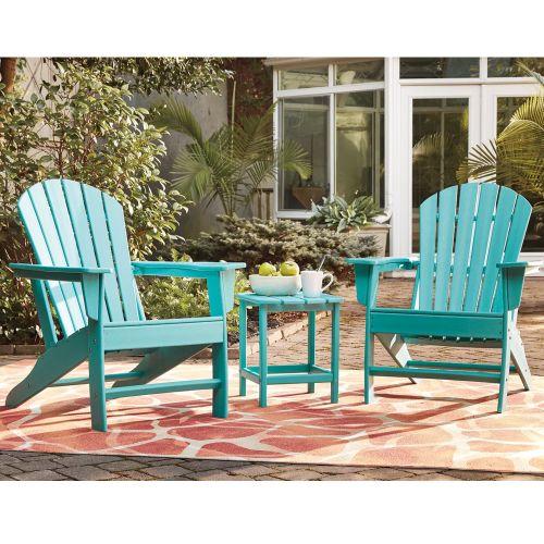Sundown Treasure 2 Outdoor Adirondack Chairs with End Table Turqoise