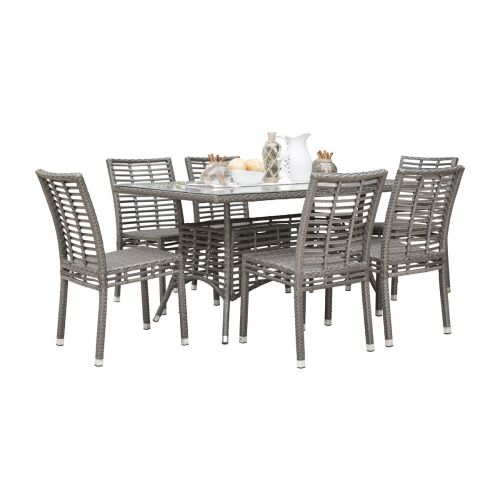 Panama Jack Graphite 7 Pc Sidechair Dining Set with Cushions