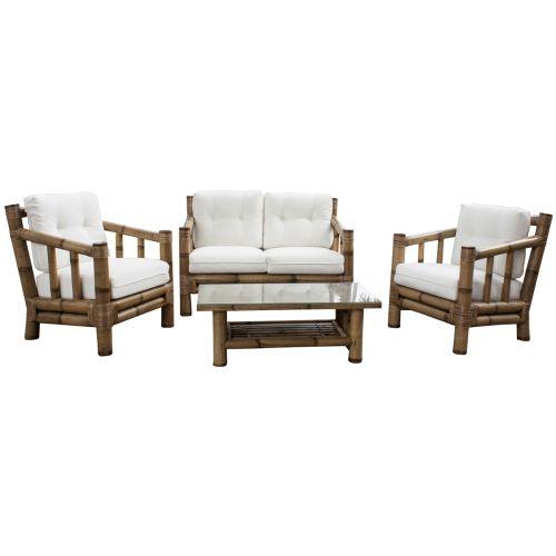 Panama Jack Kauai Bamboo 4 PC Living Set with Cushions