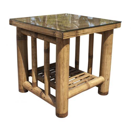 Panama Jack Kauai Bamboo End Table with Glass