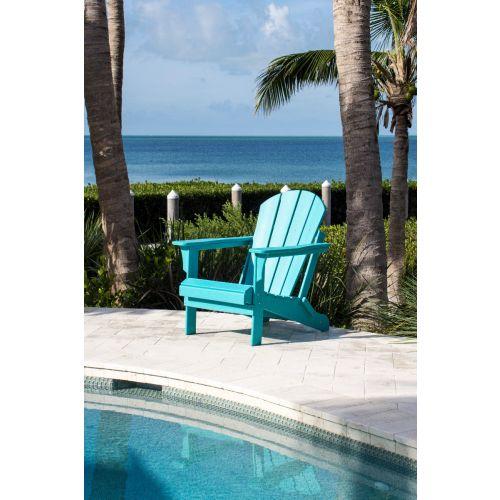 Panama Jack Folding Poly Resin TEAL Adirondack Chair